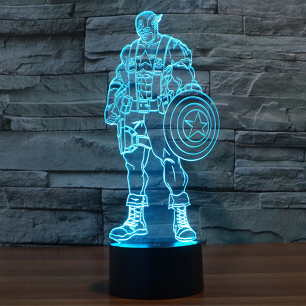 Newest 7 Color Changing 3D LED nightlight USA Captain acrylic bedroom lamp living room lights Decoration Night Light