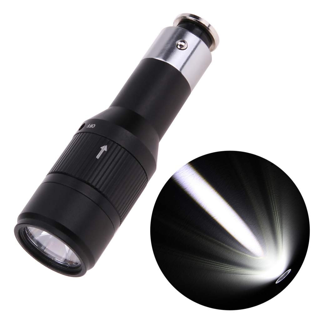 Rechargeable CREE Q5 LED Flashlight Car Vehicle Charging Mini Pocket Torch Light 1 Mode with Built-in Car Charger