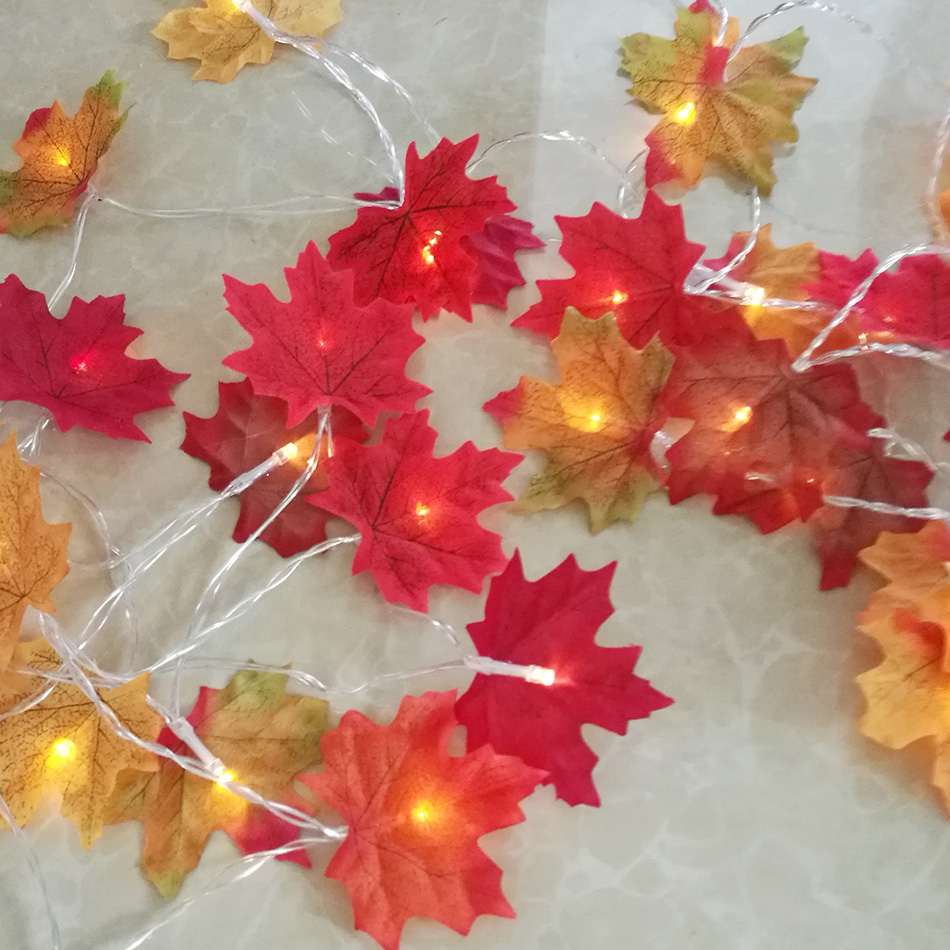 Unique maple leaf Fairy String Lights,AA battery powered 5M 40 LEDs Holiday Lighting,Wedding Party Decoration,Mirror light