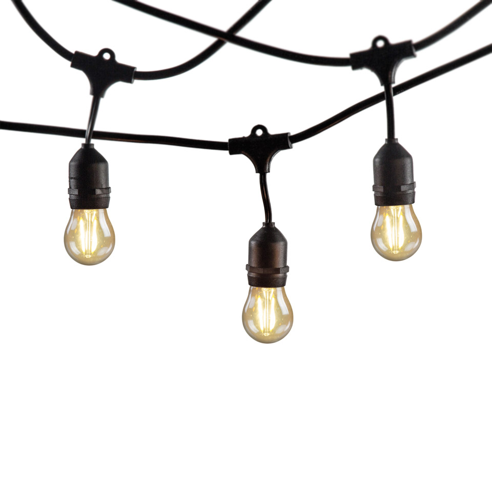 48 Foot Weatherproof Outdoor String Lights  E26/E27 Commercial Grade Heavy Duty Strand Lighting Perfect for Market Cafe Backyard