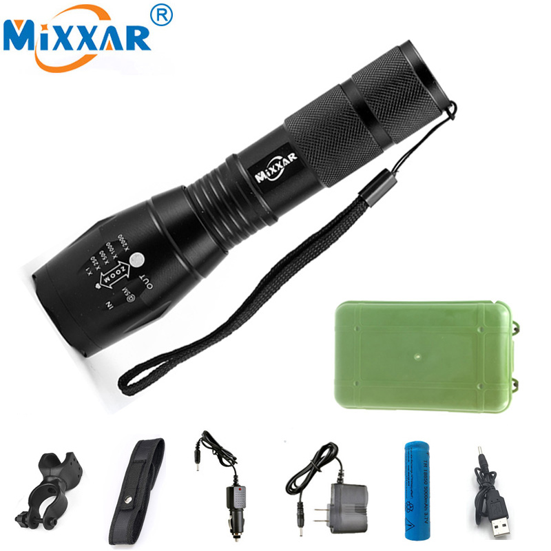LED Flashlights Powerful Waterproof LED Camping Lamp Torch Lanternas 18650 Battery Laser Pen Military Police Flashlight Torch