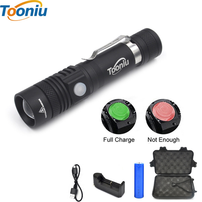 Tooniu Ultra Bright CREE XM-L T6 USB LED Flashlight 3 Modes 2000 Lumens Zoomable LED Torch 18650 Battery + Charger + Clip