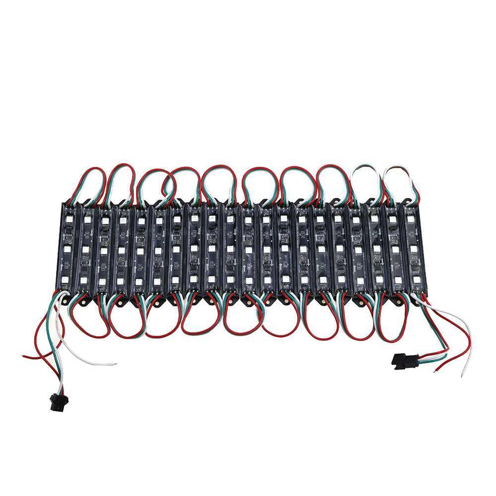 20PCS LED Module WS2811 DMX 3LED DC12V LED Garden Light SMD5050 RGB Waterproof LED Pixel Digital Module String Light black/white