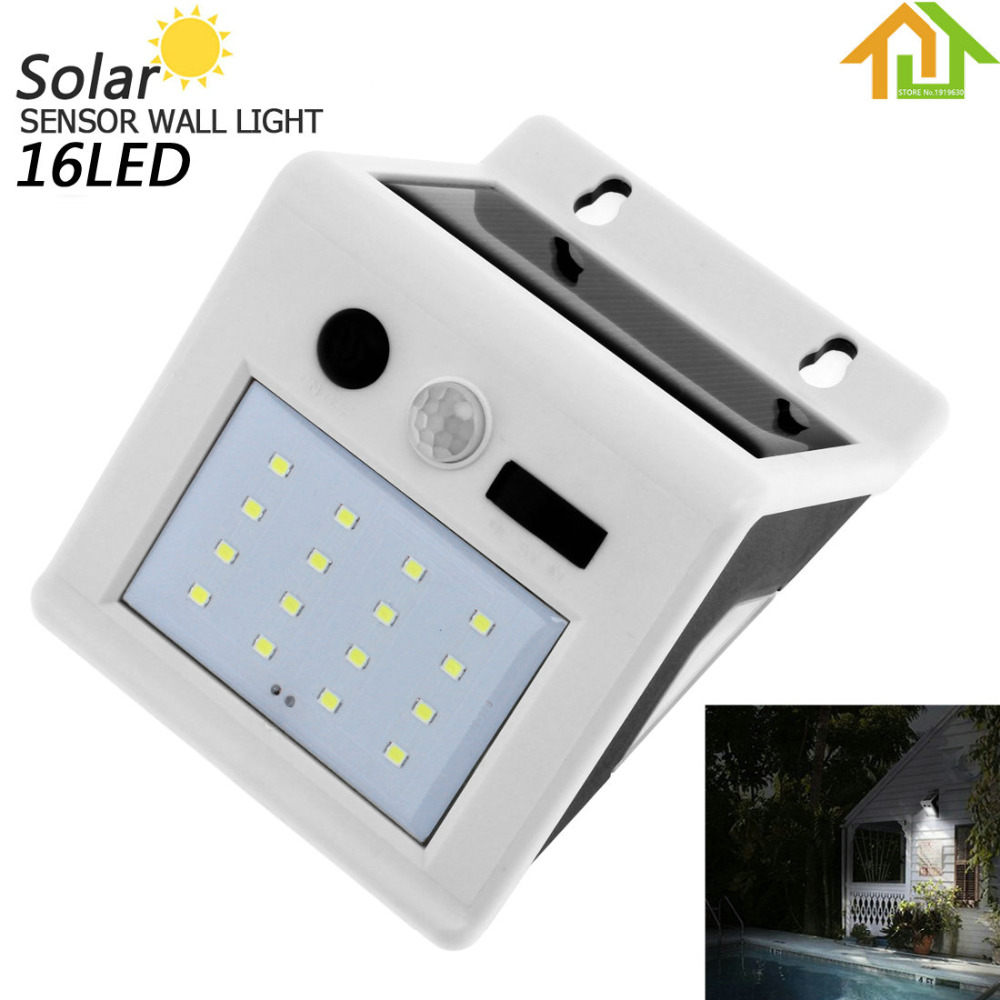 16 LED Outdoor Waterproof Garden / Yard / Driveway Rechargeable Solar Power PIR Motion Sensor Wall Light with Micro Charge Hole