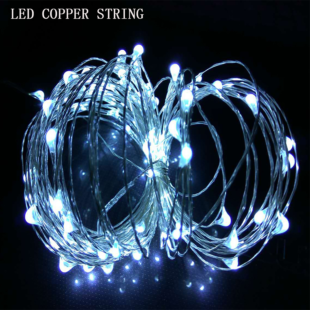 Solar powe10m 33ft led copper stringr waterproof fairy string light white warm white for ourdoor light christmas festival light