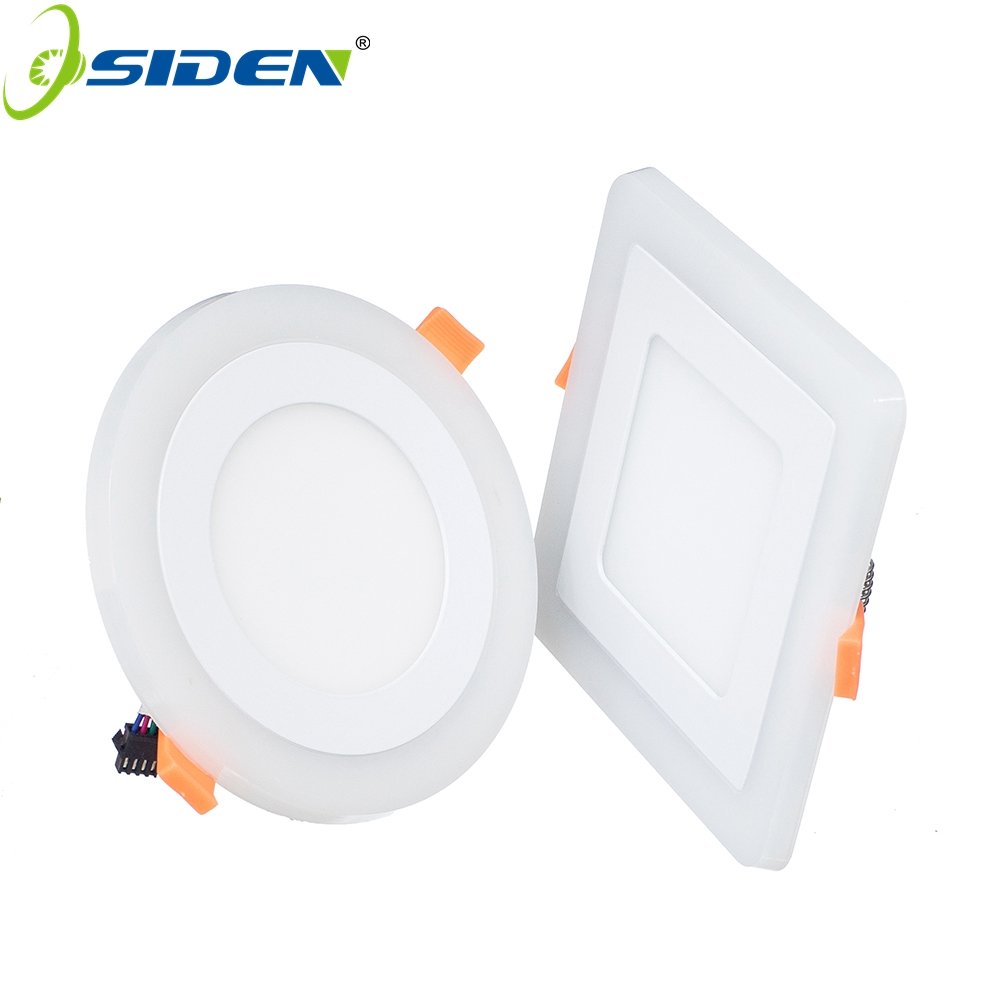 OSIDENAC85-265V round square led panel downlight,6w 12w 18w 24w double color led ceiling recessed lights, led lamp panel light