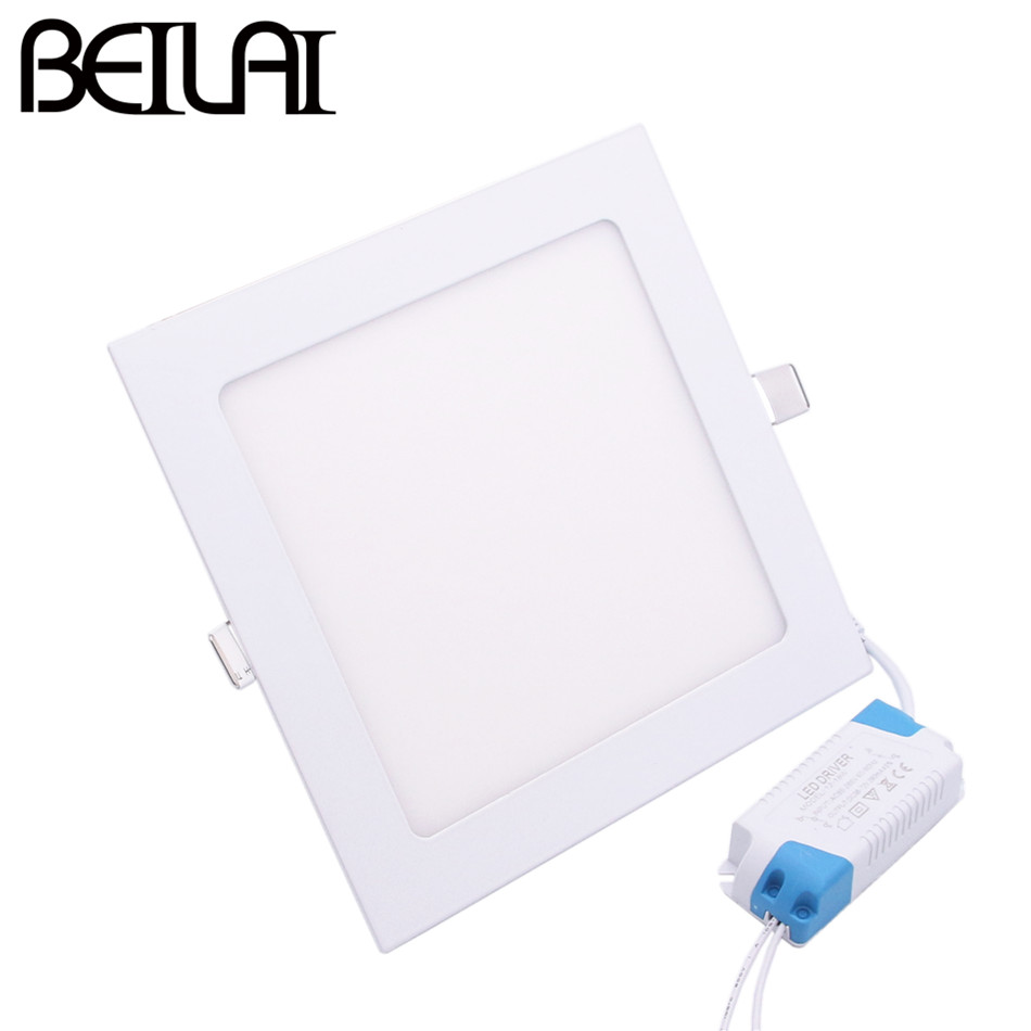 BEILAI SMD 2835 LED Panel Light AC 85-265V 3W 4W 6W 9W 12W 15W 18W 24W LED Ceiling Downlight Ultra thin Square Indoor Lighting