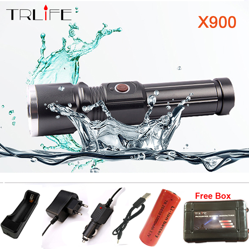 TRLIFE X900 CREE XML T6 L2 LED Zoom flashlight Torches Zoomable Flashlight lanterna led torch With 26650 Battery USB Charge
