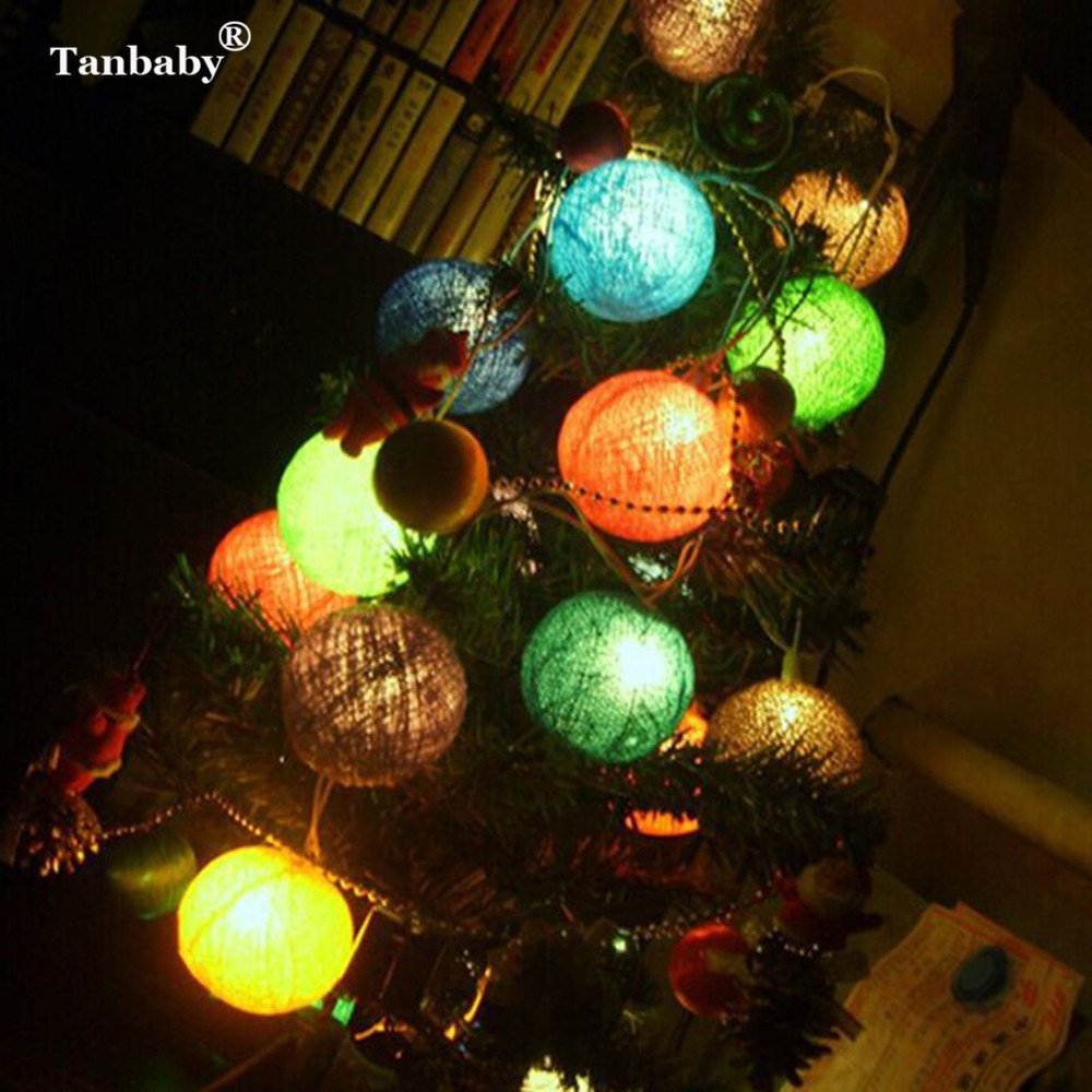 Tanbaby 5M 20LED Cotton Ball String Lamp Christmas Tree Light Garland String Indoor Decoration Wedding Decoration Fairy Lights
