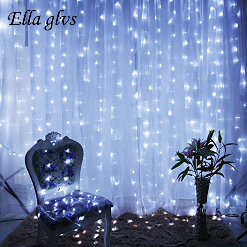 LED String Curtain Light  3M*3 300 LED Icicle Lights Christmas Outdoor Home For Wedding/Party/Curtain/Garden Decoration
