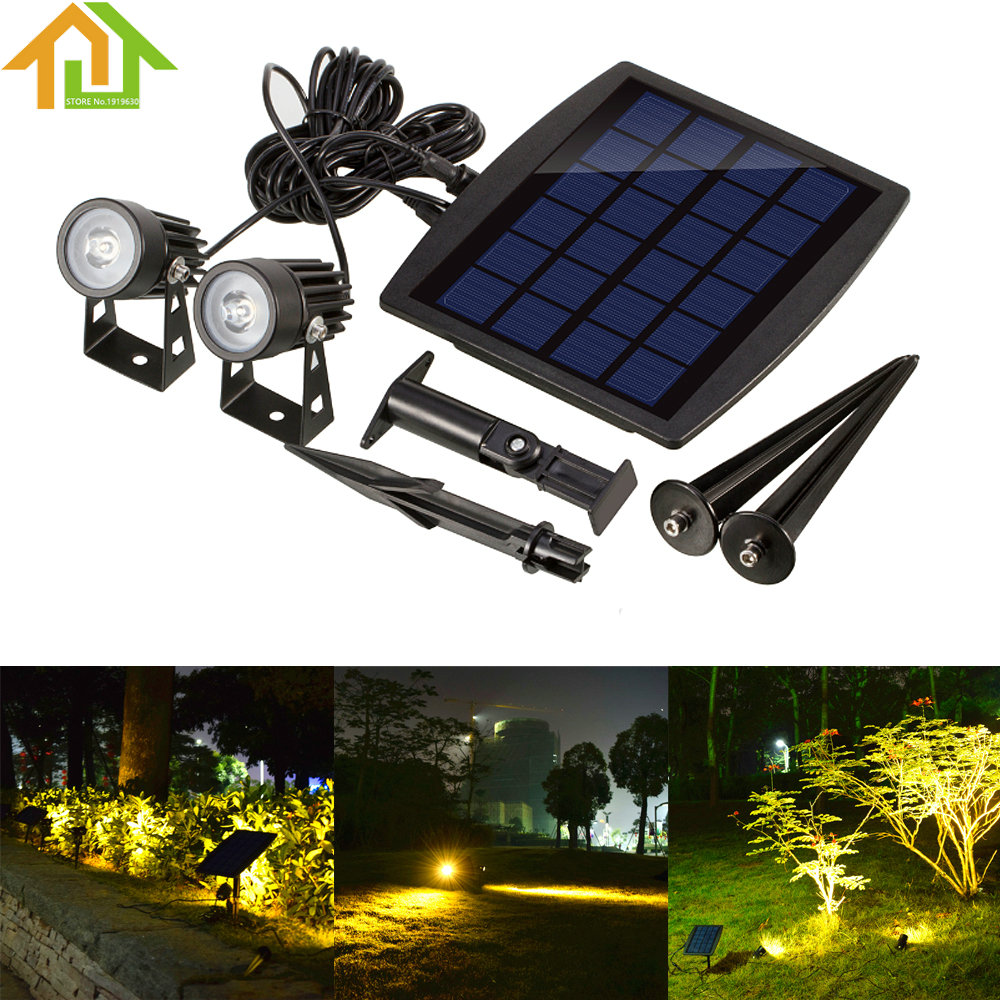 Outdoor Waterproof Solar 2 LED Spotlight Powered Light Ultra-bright Submersible Lamp  for Garden / Pool / Lawn / Patio