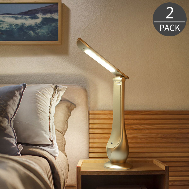 Dcloud 2017 New Product LED Touch Folding Charging Eye Protection Energy Saving Desk Light Table Lamp for Study Bedside 2Pack