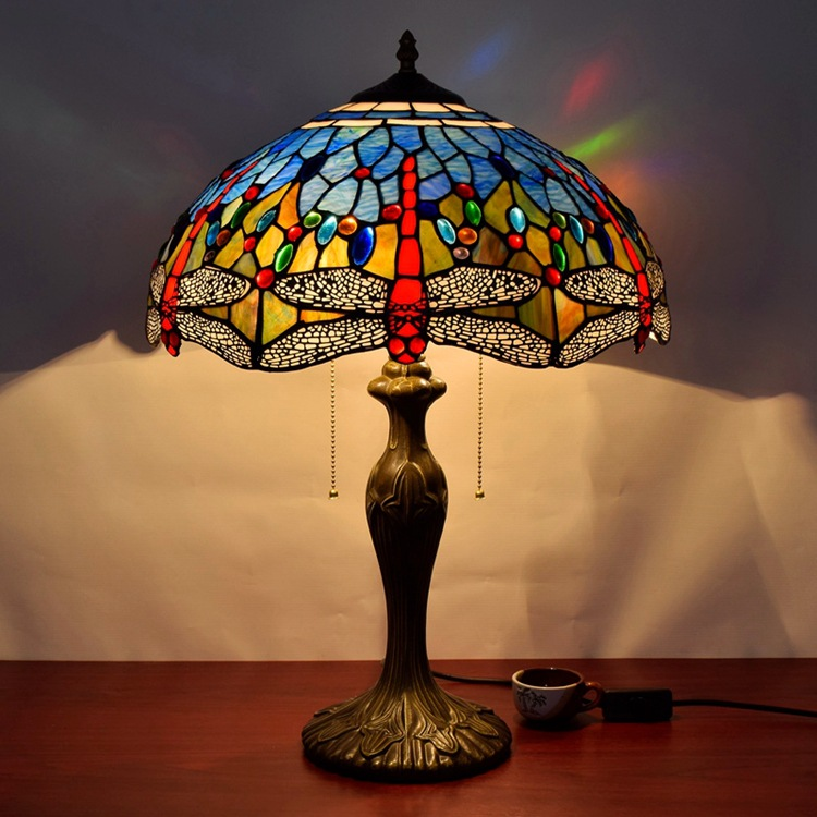European style living room decorative lamps American style Tiffany art glass Dragonfly lamp lighting 40CM Bedroom bedside lamp