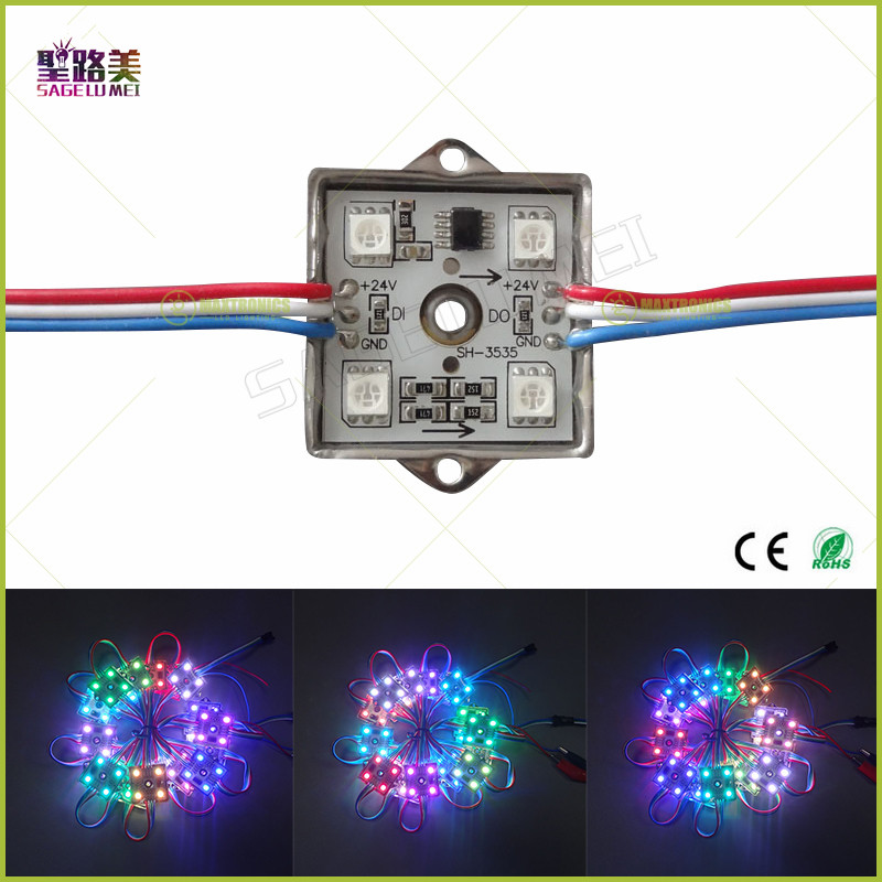 Fast shipping UCS1903 DC24V IP65 Waterproof Super Bright full color 35*35mm 5050 SMD 4 LEDs Module String Light 100mm wire