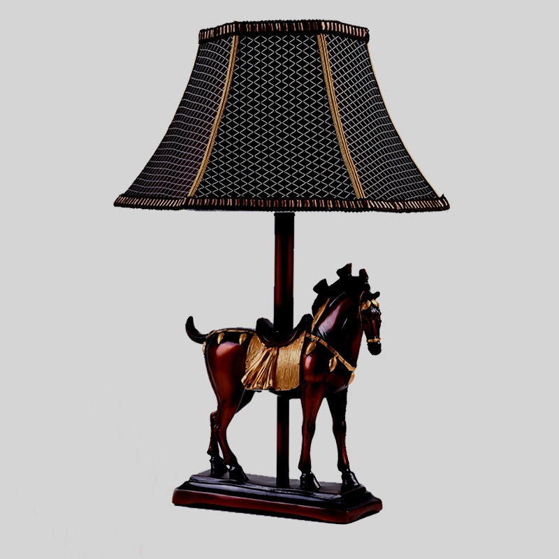 study room villa hotel horse into Table lamp European style American bedroom bedside lamp creative lighting living room  CL