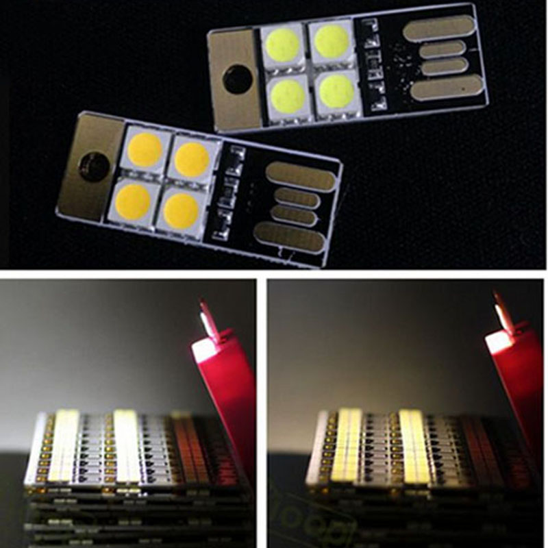 10PCS/Lot Portable Mini USB Light Power 4 LEDs Night Light 5050 Chips LED Lamp White Light For Power Bank Computer Laptop