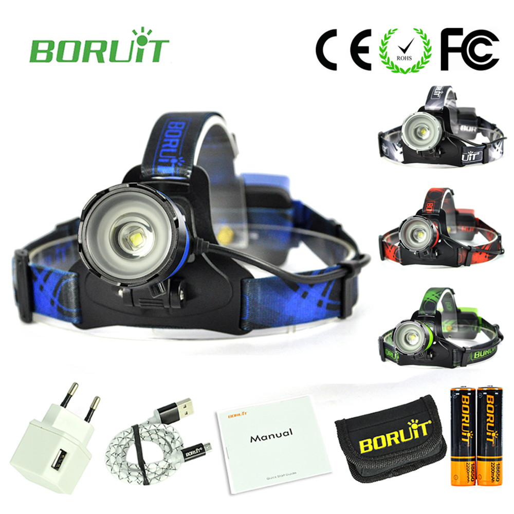 Boruit B13 LED XM-L2 rechargeable head torch with 18650 battery Bicycle Headlight Led Headlamp Flashlight Zoomable high power