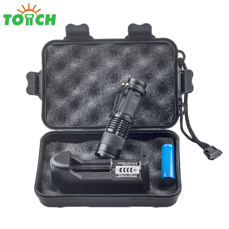 TOACH waterproof 2000LM 5W cree q5 led mini flashlight zoomable rechargeable 3-mode pocket torch light for 14500/aa battery