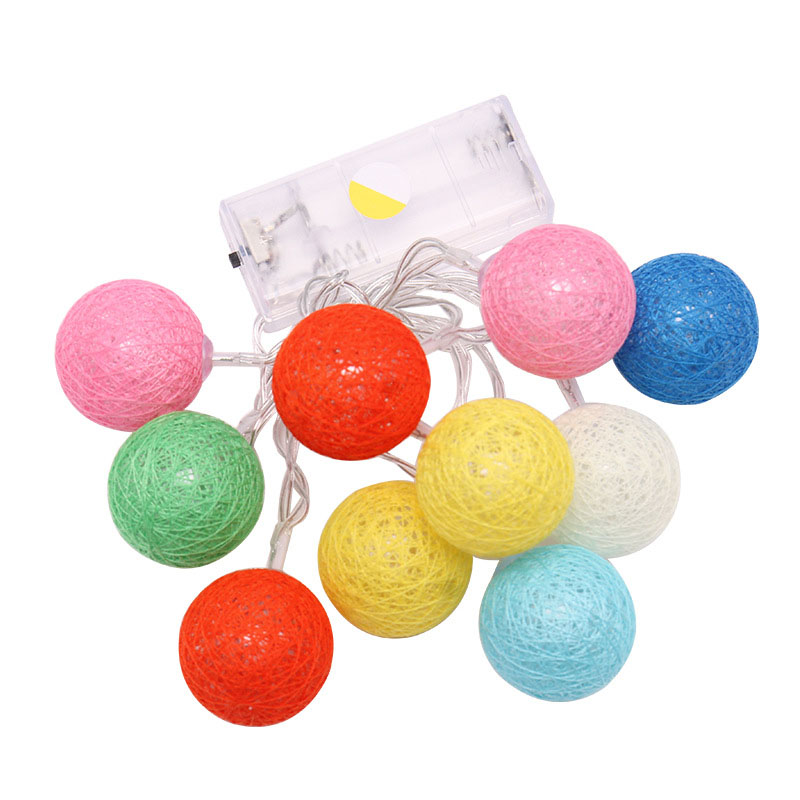 10PCS LED Cotton Christmas Ball Light Dry Battery 1.2M String Lights for Banquet Home and Trees holliday Decorations