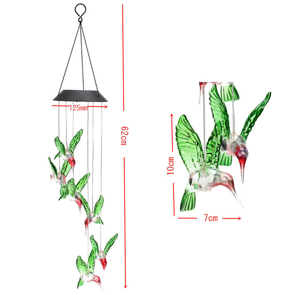 Solar Power Humming Bird LED Solar Light Romantic Windbell Light Wind Chime Lamp Color Changing for Patio,Yard,Garden Decoration