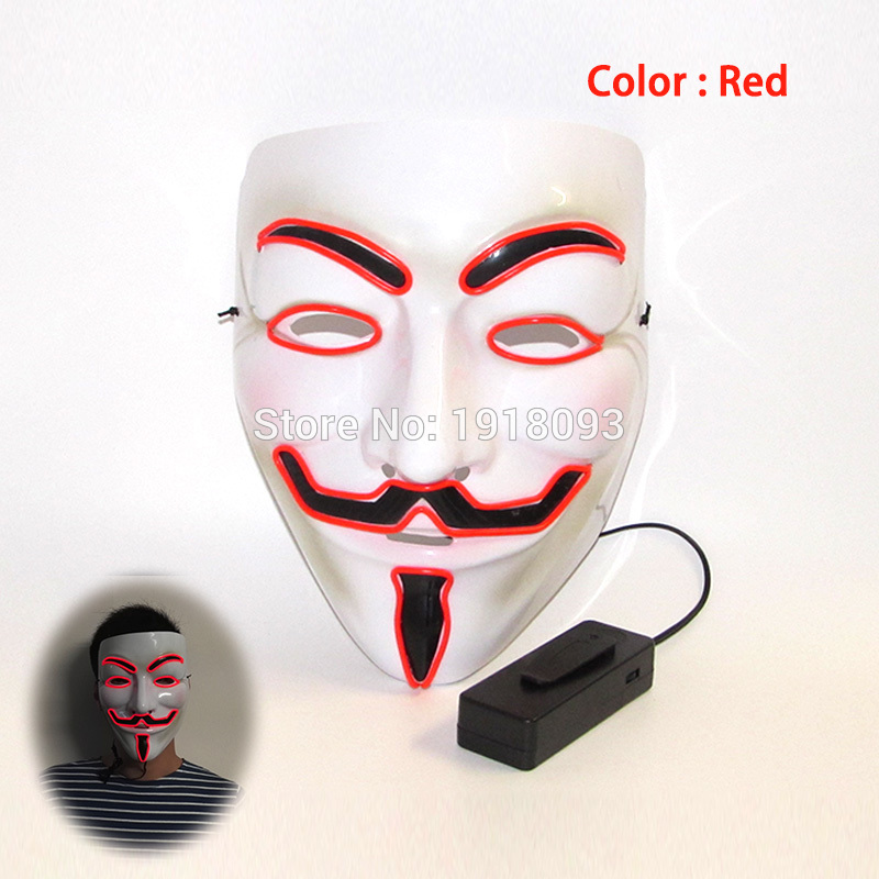 New style Red Halloween Vendetta Mask el wire neon Mask as Holiday lighting For Festival Carnival Dance Night Party
