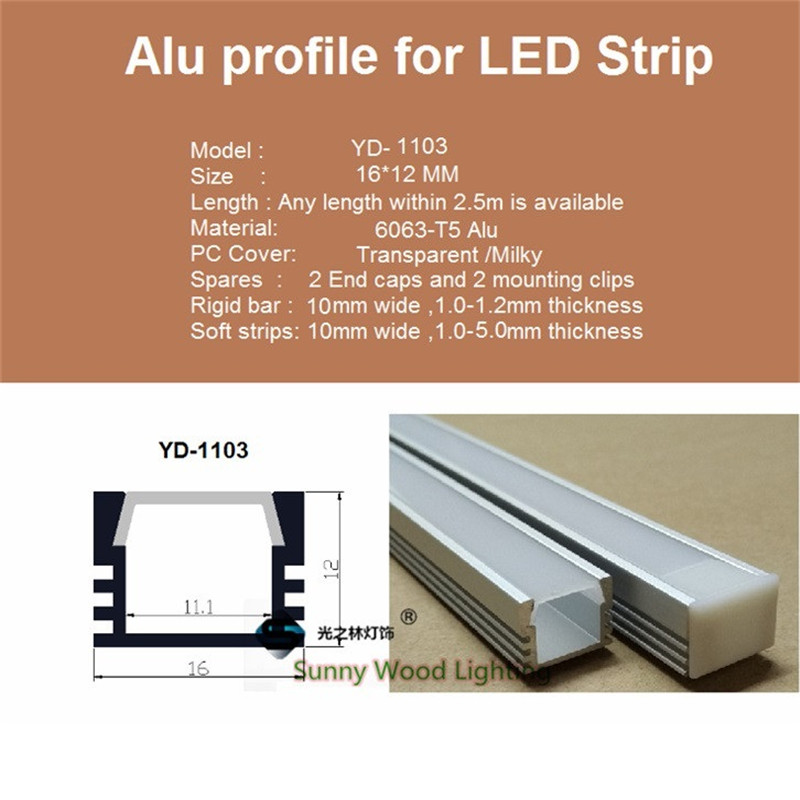 10-40pcs/lot 20-80m led aluminium profile for 11mm PCB board ,W16*H12 led bar light housing, led tape light channel