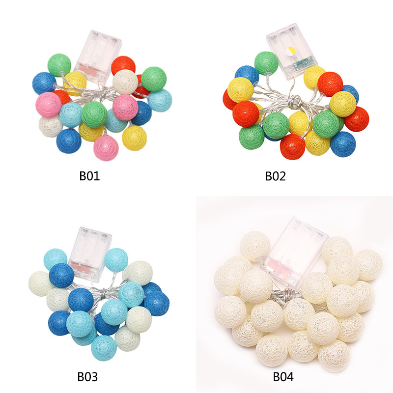 New 2.3 Meters 20 LEDs Cotton Balls String Lights for Decorative Xmas Wedding Party Bedroom Light Decoration Fairy Lamp P15