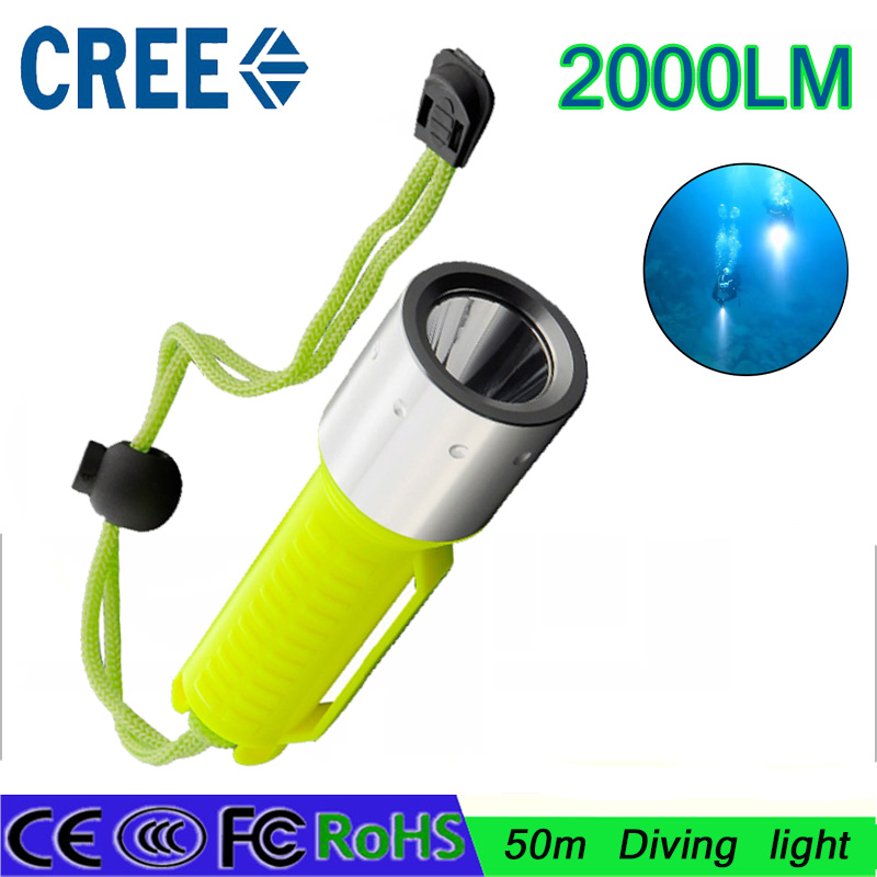litwod dive Flashlights Torch lamp Lights Underwater 50m Handy LED diving Flashlights CREE T6 Portable waterproof