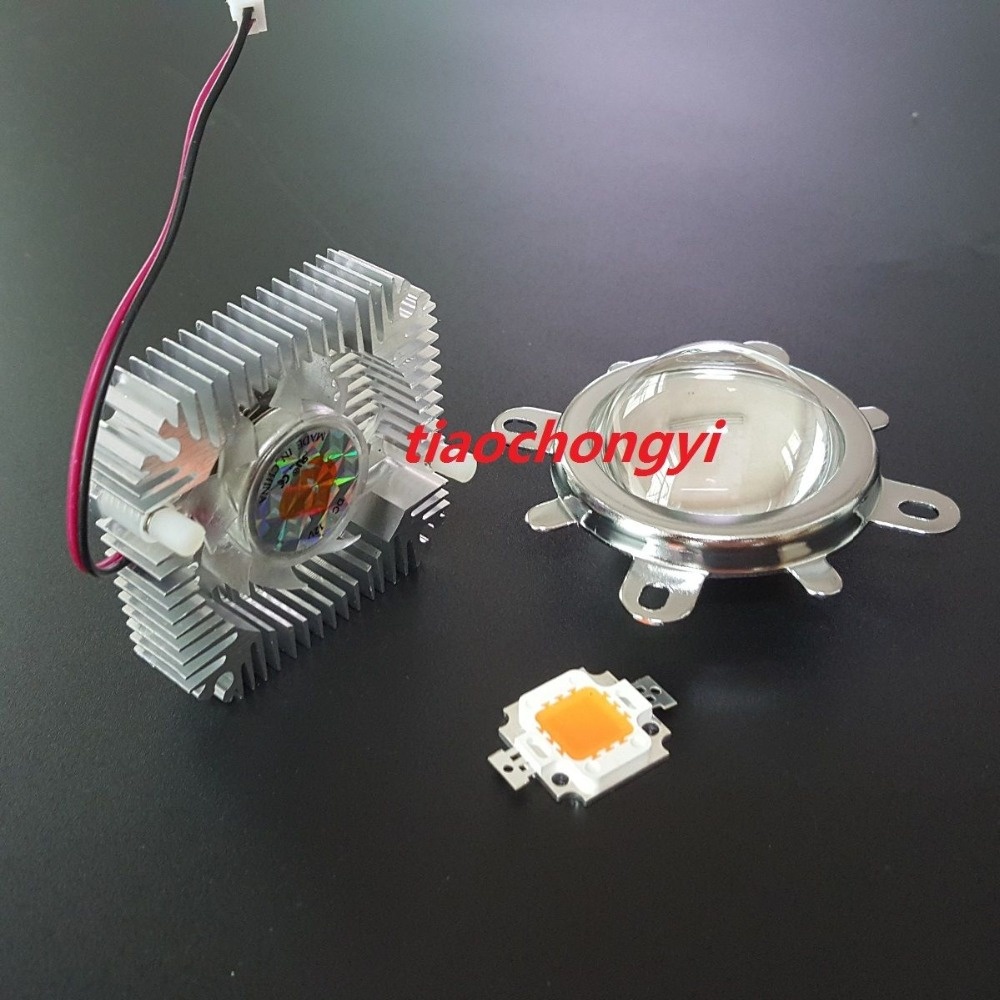 10w 380-840nm full spectrum led grow chip+10W Driver + 44mm Lens+10w Heatsink