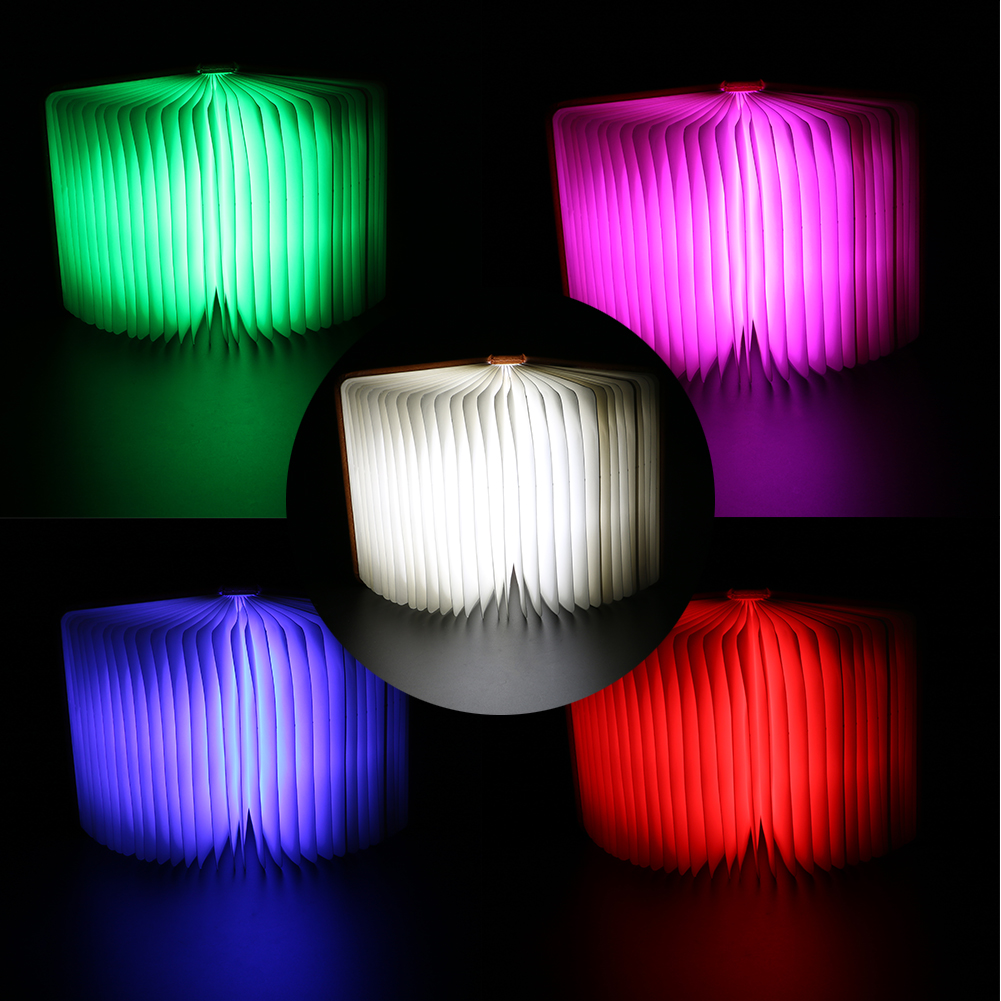 LED Folding Night Light Creative Book Light Table Lamp Home Novelty Decorative USB Rechargeable Lamp Five Color Night Light