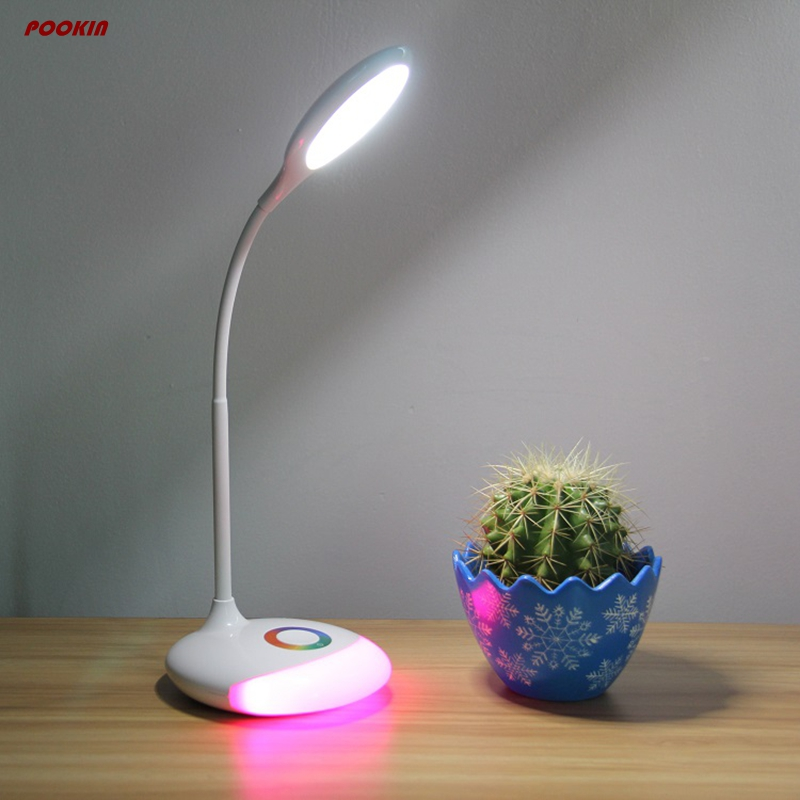 NEW Q6 Led 5W White DC5V USB charging magic RGB desk lamp 3 lever brightness reading light