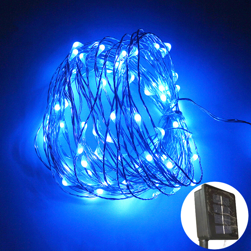 10m 100leds Solar Power String Light Garland Waterproof LED Copper Wire lamp christmas lights outdoor garden decoration