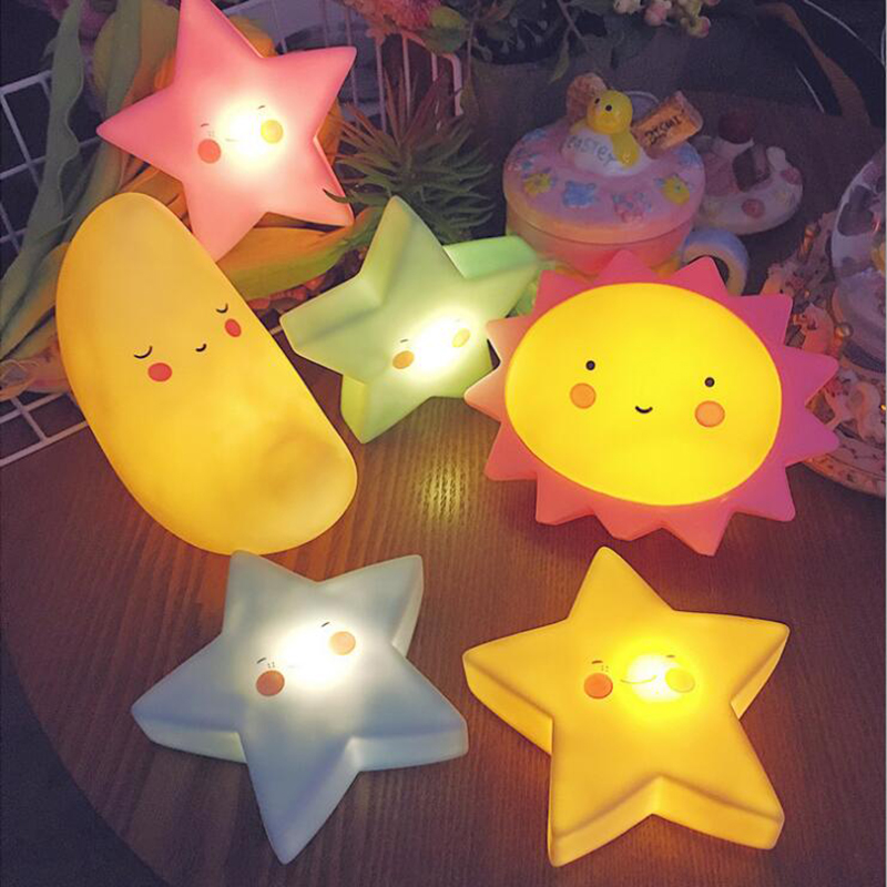 Novelty Cloud Smile Face Led Night Light Sun Moon Star Night Lamps Bedroom Nursery Mini Lamps Kids Gift Home Children Room Decor