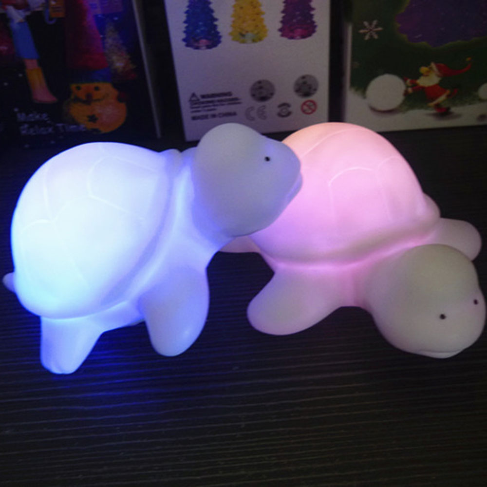 Creative Mini White Cute Tortoise Light 8 Colors Change Night light Lamp Christmas Party Decoration Children Kid Baby Toy Gift