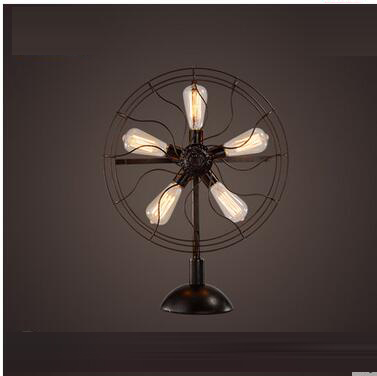 LOF fan retro table lamp American nostalgic Nordic industrial wind living room coffee restaurant bedroom bedside bar CL