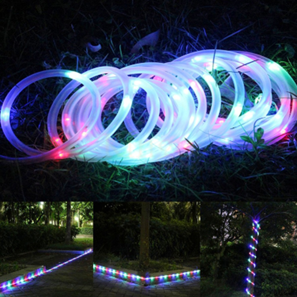 100 LEDs Solar Powered Waterproof Tube Flexible Light Fairy String Rope Strips for Christmas holidays outdoor