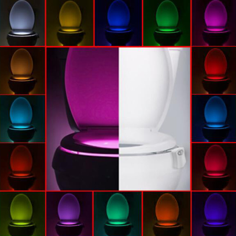 16 Colors Toilet Light/ 8 Colors Toilet Motion Sensor Automatic LED Night Light Hanging Bowl with Color Setting Battery-Operated