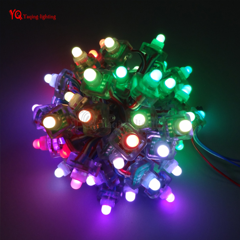 50pcs 12mm WS2801 2801 Digital Diffused RGB LED Pixel Square Module Light String IP68 Waterproof DC5V