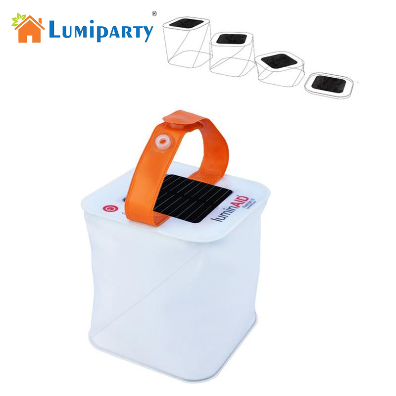 Lumiparty 2017 Hot Sale Foldable Inflatable Cube Solar Light  Waterproof Outdoor Lantern Protable 3 Modes LED Lamp For Garden