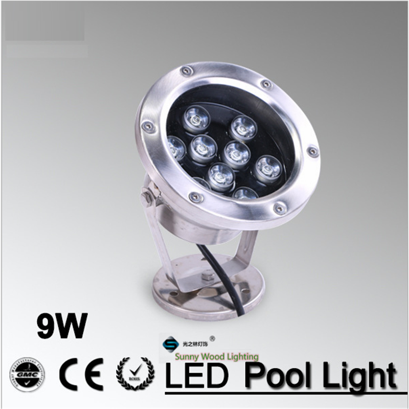 12/24Vac 9W IP68  LED swimming pool /pond /fountain decoration lighting , brigelux led chip , spot light for garden,landscape