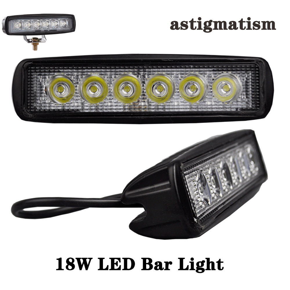 LED Bar Light 18W 6pcs Cree led Chips Aluminium Car Bar Voltage DC12-80V White Lamp for Car Motorcycle Outdoor Super Brightness