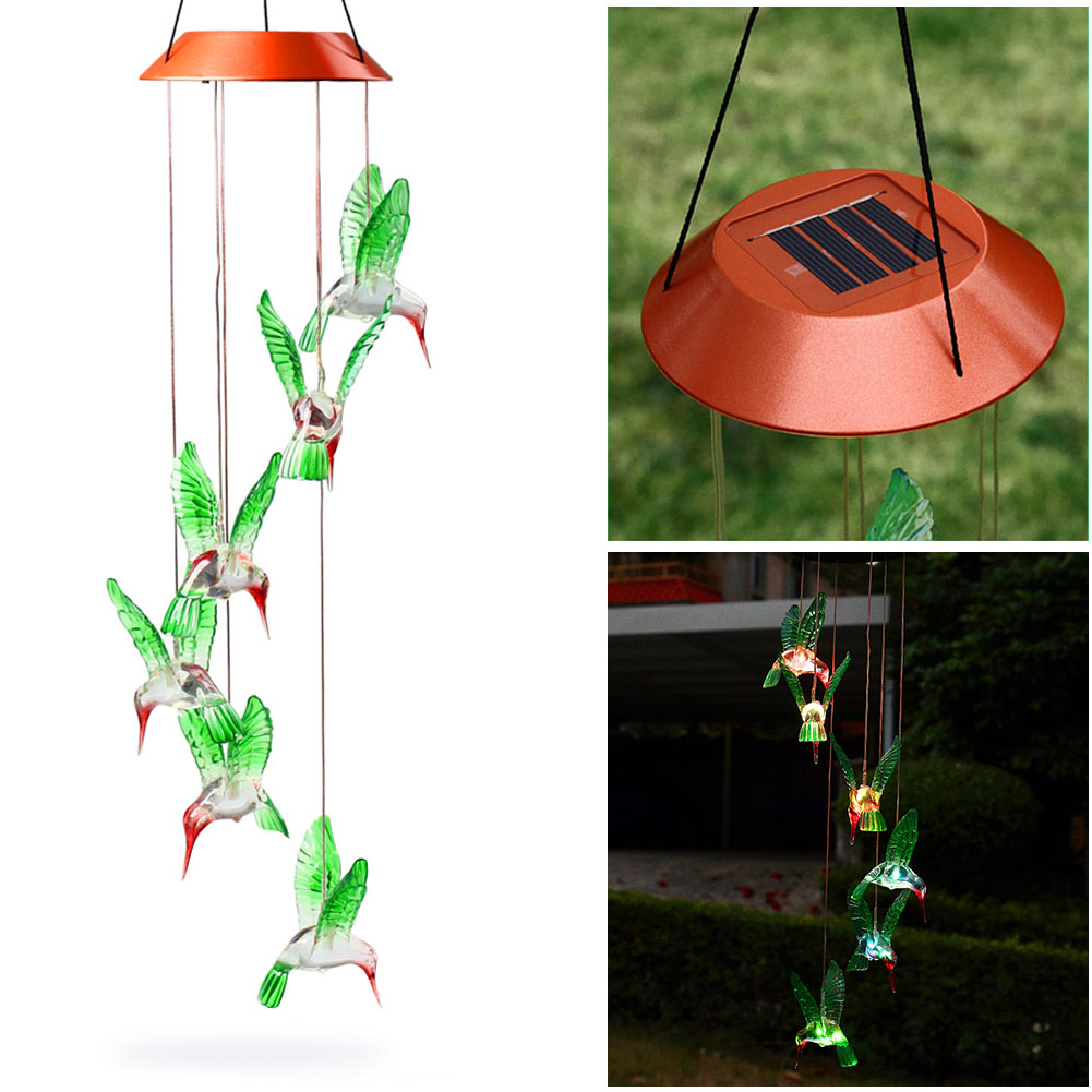 LED Solar Wind Chime Light Changing Color Hummingbird Hanging Lawn Yard Garden Home Decoration ALI88