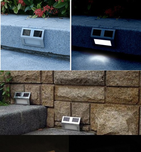 Garden Path Wall Light street Lamp Outdoor Solar 2 LED White Stairways Landscape solar garden light