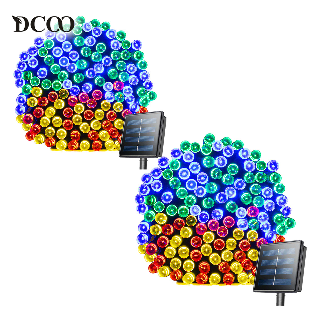 Dcoo 2 Pieces 8 Modes 72ft 22m 200 LEDs Solar LED String Lights Waterproof Solar Fairy String Lights Outdoor Party Lights Garden