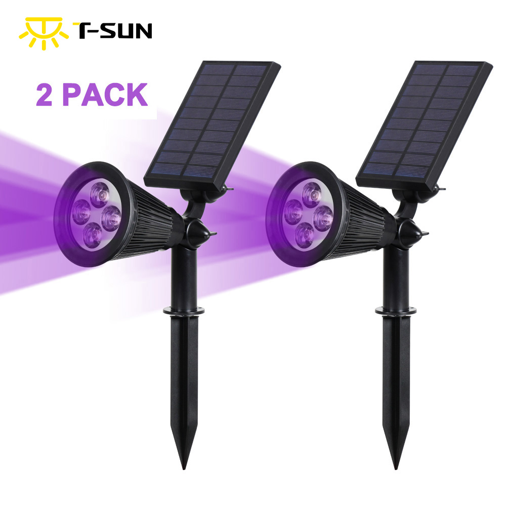 T-SUNRISE 2 PACK Solar Spotlight Powered Lamp Purple Color Solar Lights Outdoor Lighting Wall Light For Garden Street Light