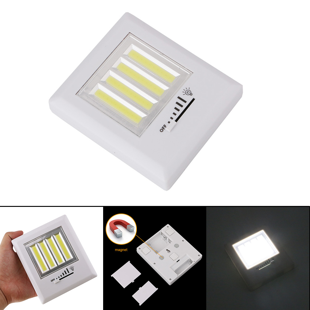 Newest 4 COB LED Wall Light Night Lights Lamp Battery Operated With magnetic back plates cordless for Garage Closet Lighting