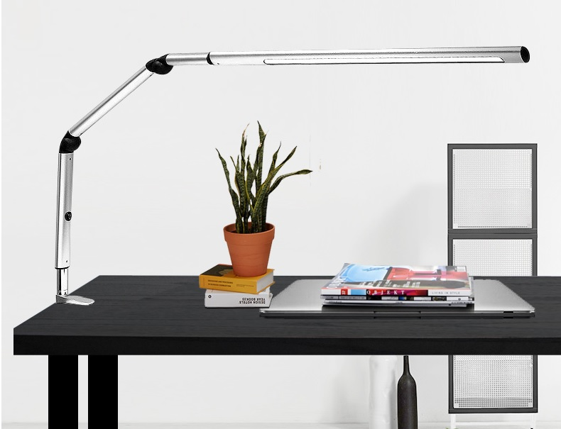 Sleek Design LED Clamp Lamp 9W, Metal Long Arm Foldable Table Lamp, Swing Arm Adjustable