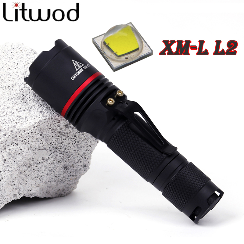 Litwod z30911 LED Flashlight Aluminum XM-L L2 5000LM Torch Lantern Waterproof 3 Modes Lantern Portable Light use AA or 14500