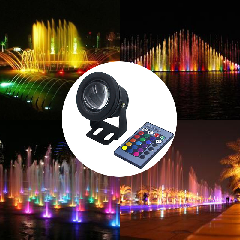 High Waterproof IP68 12V 10W Outdoor LED Landscape Fountain Pool Lamp Underwater Lights with 24key IR Remote Controller