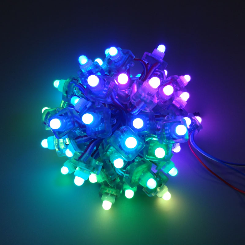 12mm WS2811 Square LED Pixel Module Diffused Digital RGB Pixel String DC5V Waterproof 1000pcs/lot Black Wire